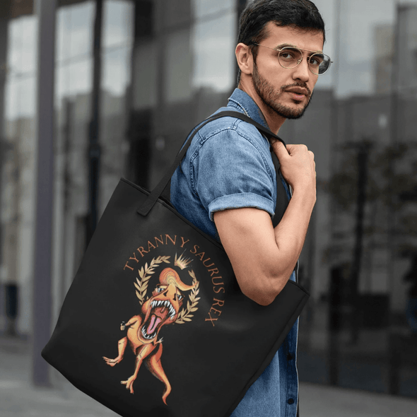 Revolution Art Shop Tyranny Saurus Rex Dinosaur Large organic tote bag Tote Black