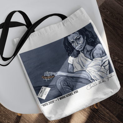 Revolution Art Shop Vote 2020 | The F Word by Charles Baker Strahan Small Tote bag Tote white