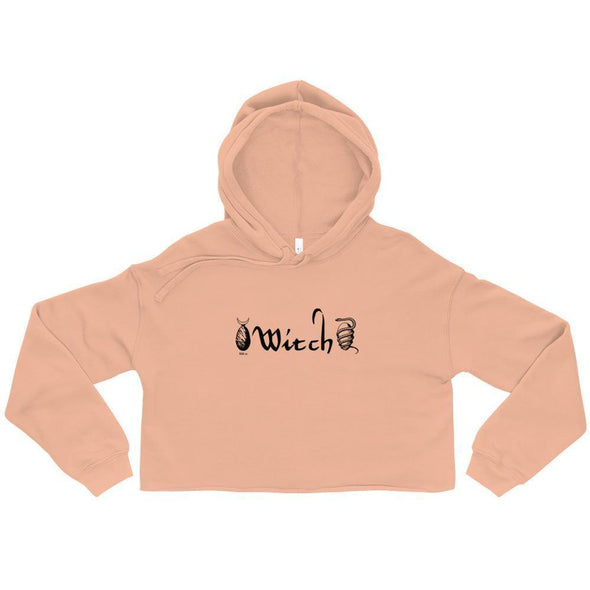 Trash Panda Chic Witch Cropped Hoodie Cropped Hoodie Peach / S