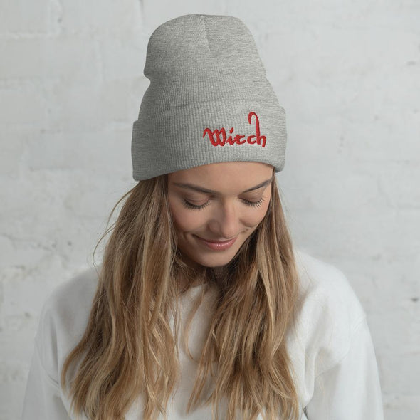 Trash Panda Chic Witch Cuffed Beanie Beanie Heather Grey