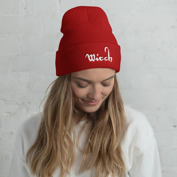 Trash Panda Chic Witch Cuffed Beanie Beanie Red