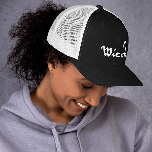 Trash Panda Chic Witch Retro Trucker Hat Trucker Cap Black/ White