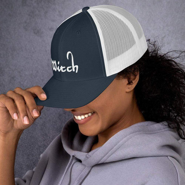 Trash Panda Chic Witch Retro Trucker Hat Trucker Cap Navy/ White