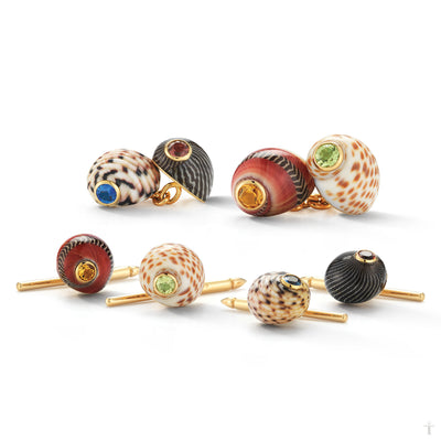 Shell Cufflinks & Stud Set