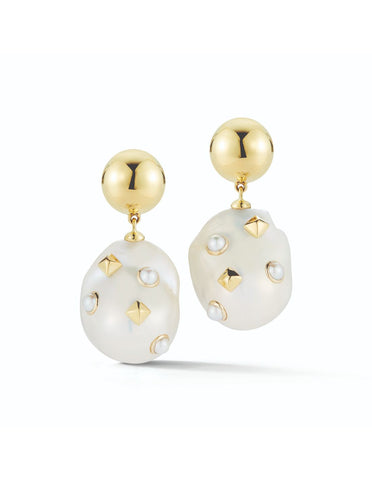 Yellow Gold & Baroque Pearl Lisbon Drop Earrings