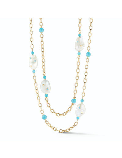 Baroque Pearl & Turquoise Lisbon Necklace