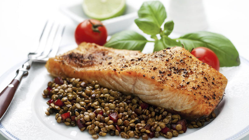 Salmon with Spicy Lentils for Youthful Ageing