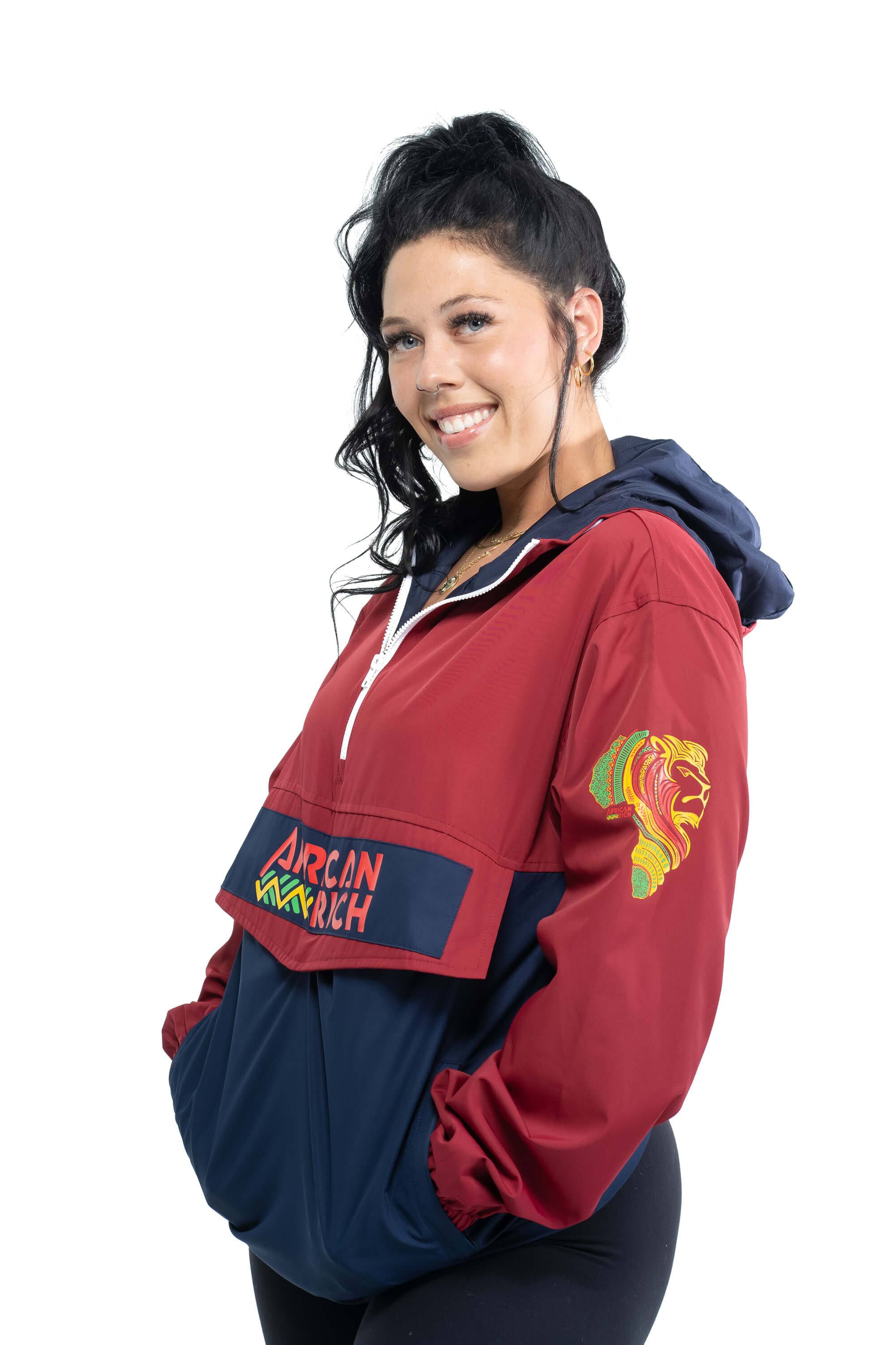 Red and Blue Windbreaker Jacket