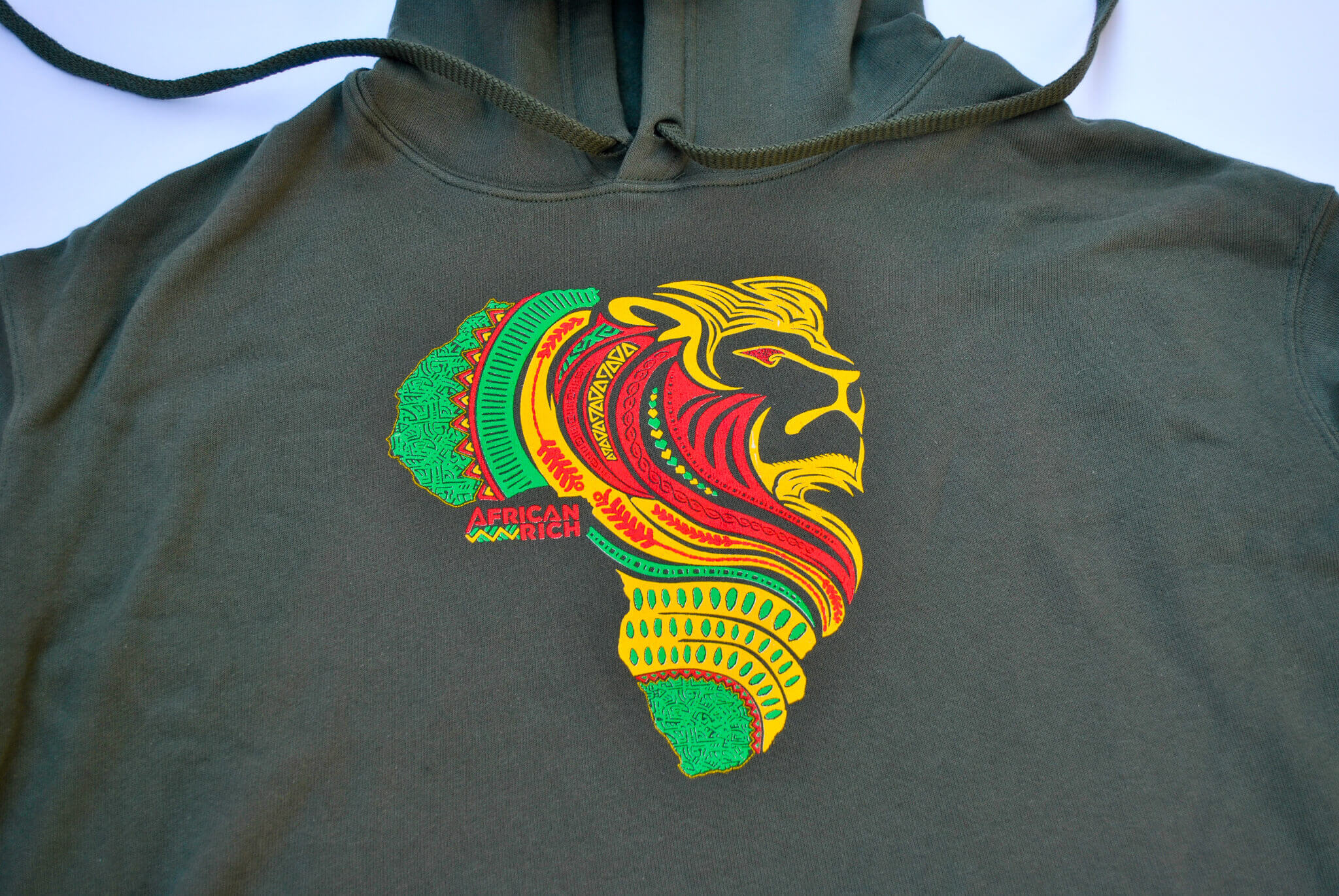 AfricanRich Cropped 3 Color Logo Hoodie