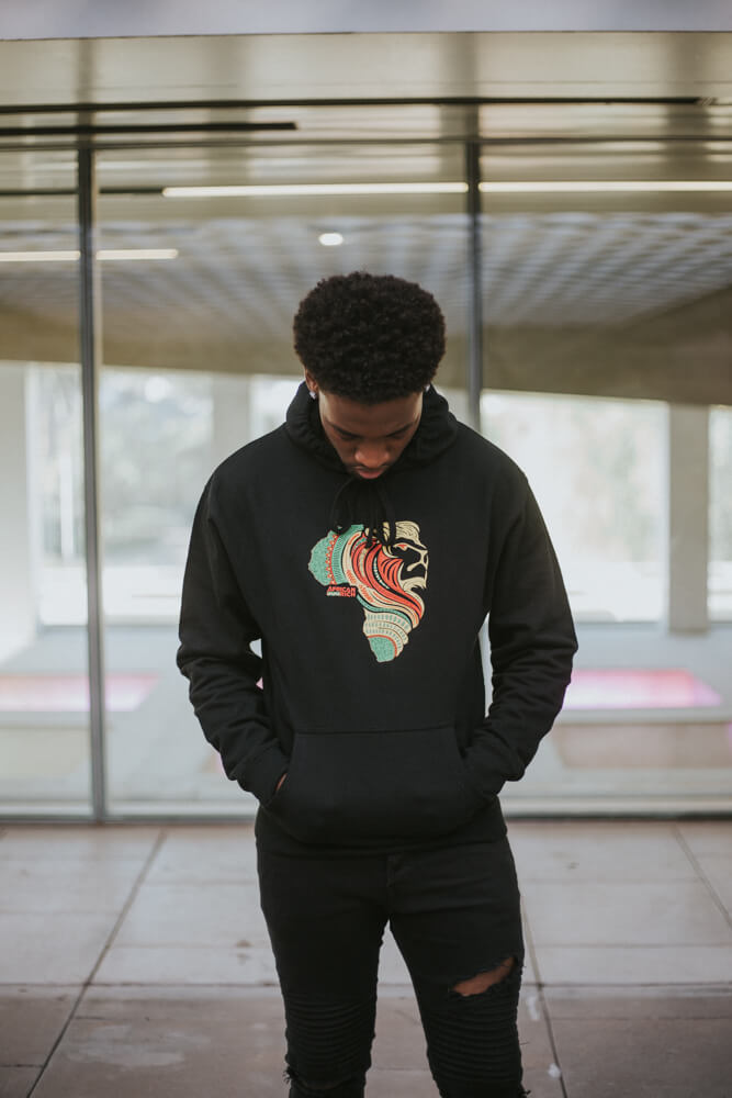 AfricanRich 3 Color Lion Logo Hoodie