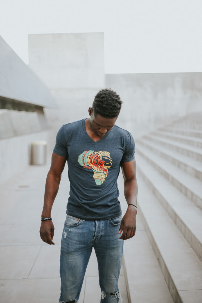 AfricanRich Signature 3 Color Logo Vneck Tee