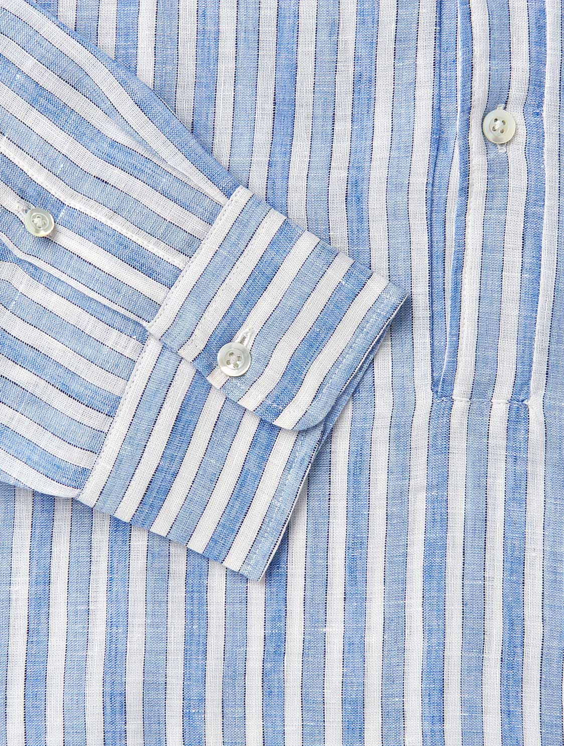 Half Placket Dashed Stripe Linen Shirt