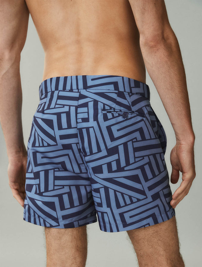 Modernist Breton Print Tailored Swim Shorts