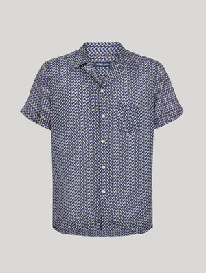 Cube Print Camp Collar Shirt