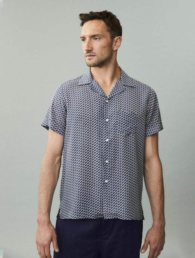 Cube-Print Camp Collar Shirt