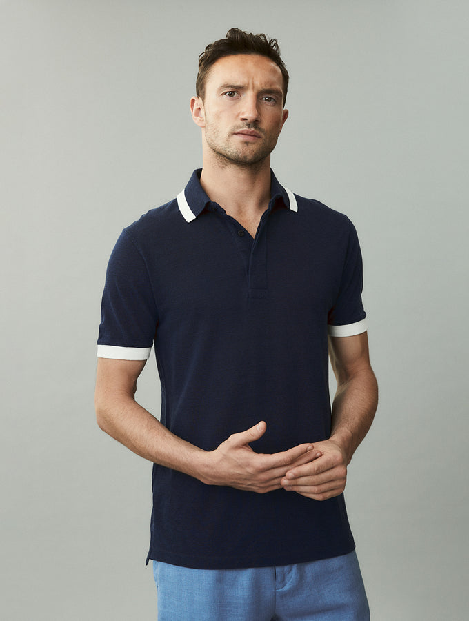 Ribbed Bi-Coloured Polo