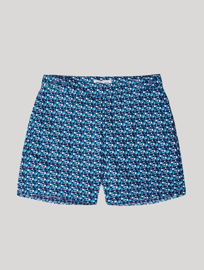 TAILORED SWIM SHORTS SQUARE TILE PRINT