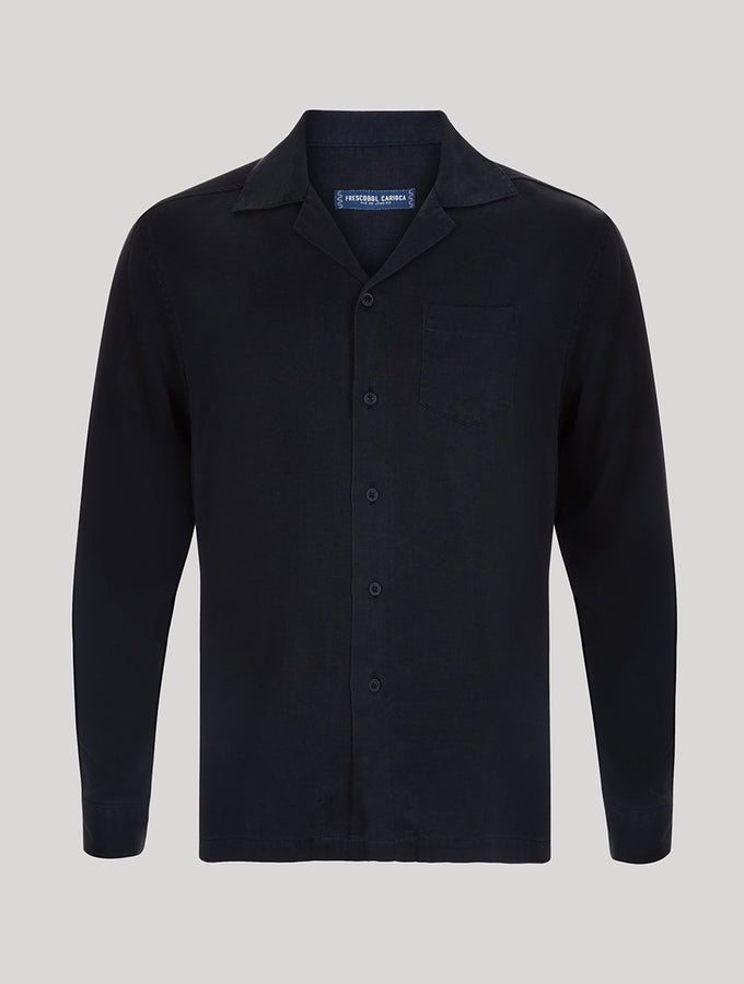 Long Sleeve Tencel Camp Collar Shirt