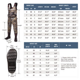 HISEA Neoprene Camo Chest Waders with 1600 Gram Insulated Rubber Boots