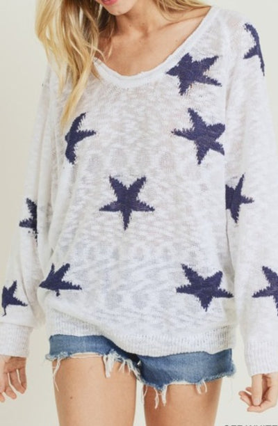 Hoppe Star Sweater, off white & navy