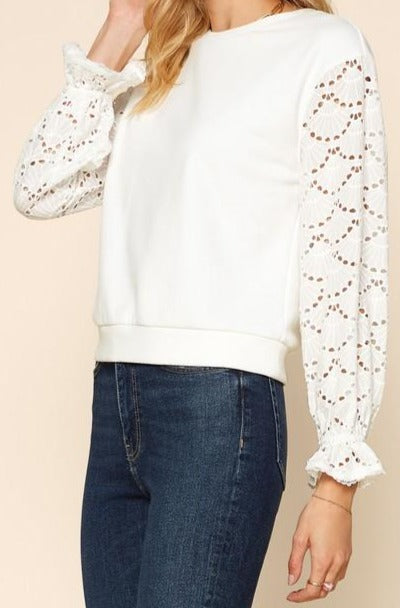 Haddrell St. Lace Sleeve Sweatshirt Top