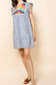 Hassell St. stripe embroidered dress