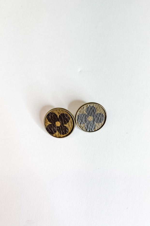 Florence Upcycled LV button earrings