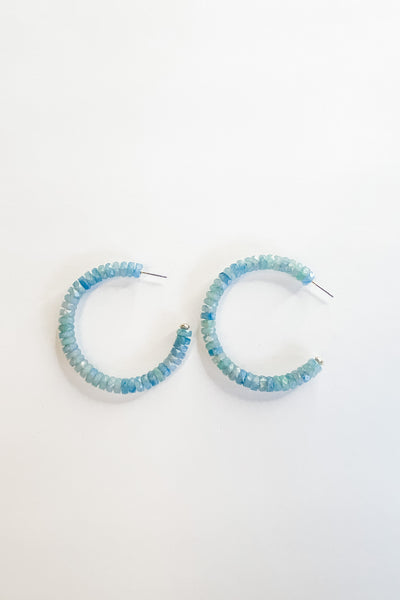 Berkeley beaded hoop earrings, blue