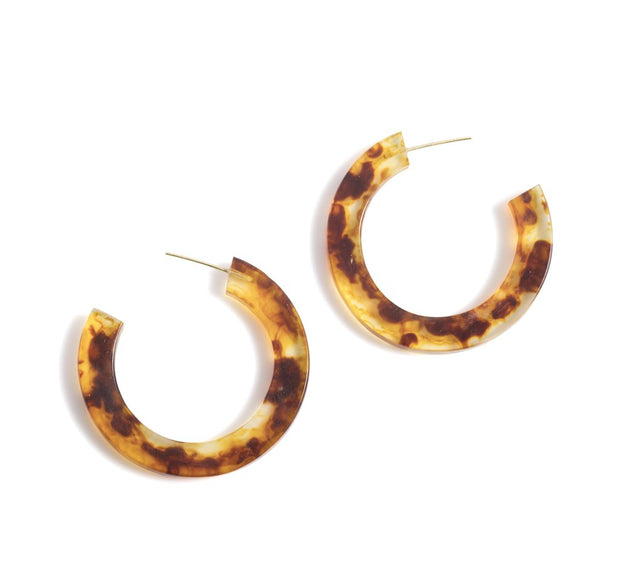 Yvonne hoop earrings, tortoise