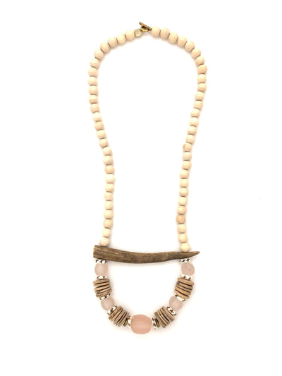 Black River antler tine necklace, pink
