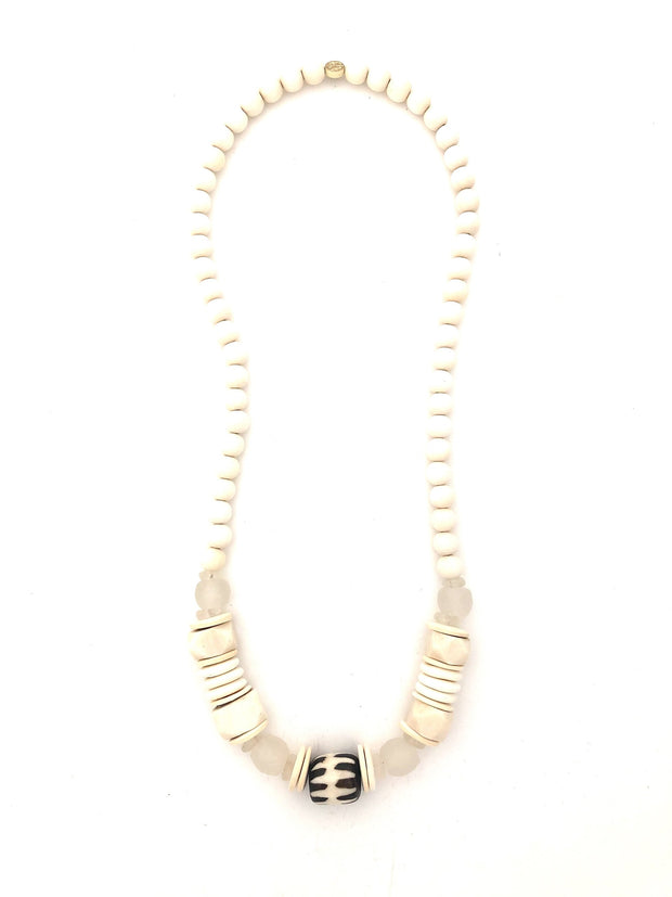 Amber long classic necklace, brown bone bead