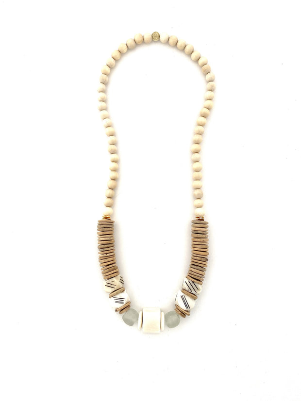 Amber long classic necklace, cream bone bead