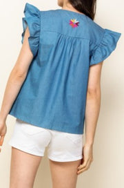 Crescent chambray embroidered top