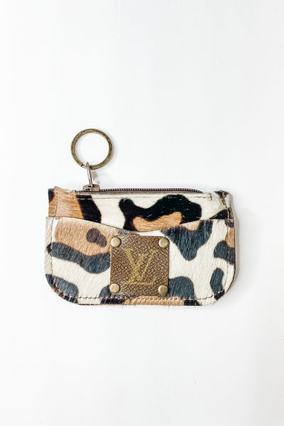 Dubose Upcycled LV leather cowhide card case key ring
