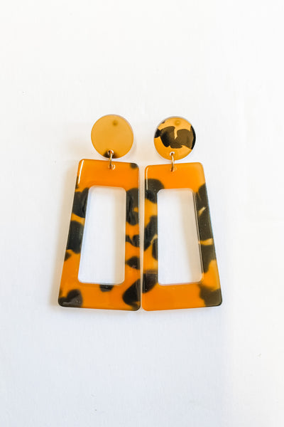 Station 26 Trapezoid Earrings, amber
