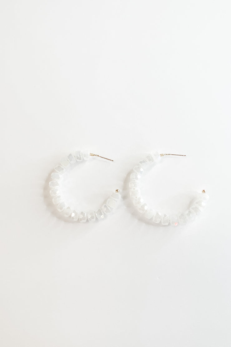 Mary Kathryn Earrings, white hoop