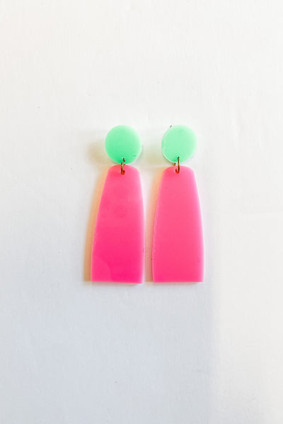 Jasper green and pink drop earrings