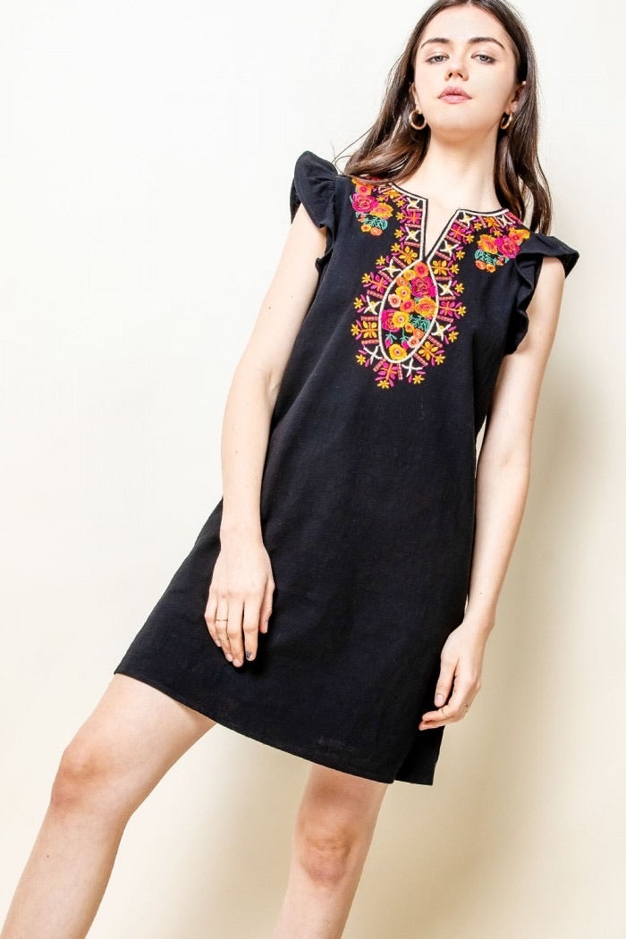 Rose Embroidered Dress, black