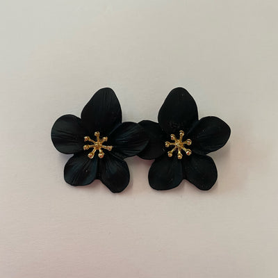 Finnegan Flower Earrings, Black