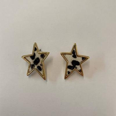 Star earrings, leopard