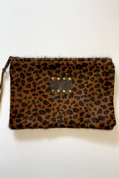 Austyn Upcycled LV leather cowhide clutch