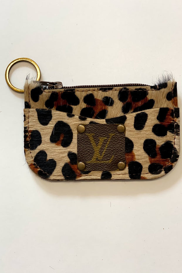 Fowler Upcycled LV leather cowhide card case key ring
