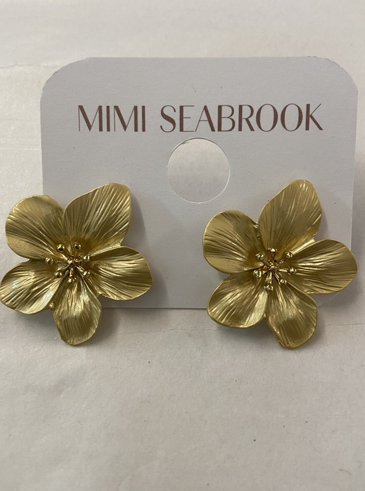 Finnegan Flower Earrings, gold