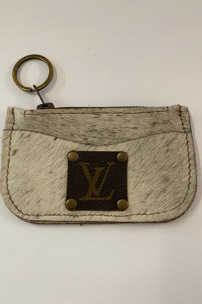 Mackelcan Amarillo Upcycled LV leather cowhide card case key ring