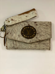 Cherie Upcycled LV Cowhide wristlet clutch