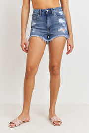 Lantana high-rise denim shorts, medium denim