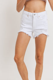 Lantana high-rise denim shorts, white