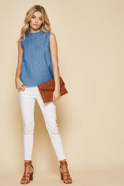 Mae scalloped denim top