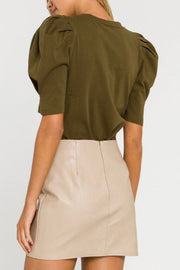 Beckett pleated puff sleeve top, olive