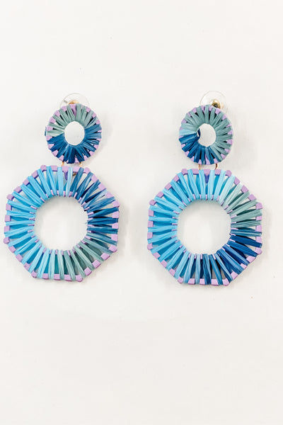 octagon multi raffia drop earrings